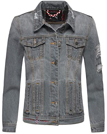Laufschuhe attraktive Farbe Auf Abstand Navahoo Damen Jeans Jacke Jeansjacke Destroyed Übergangsjacke Frühling B697