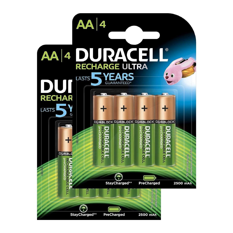 Duracell - Recharge Ultra AA + AAA Precargado, 4 pilas recargable 2500 mAh + 4 pilas recargable 2500 mAh