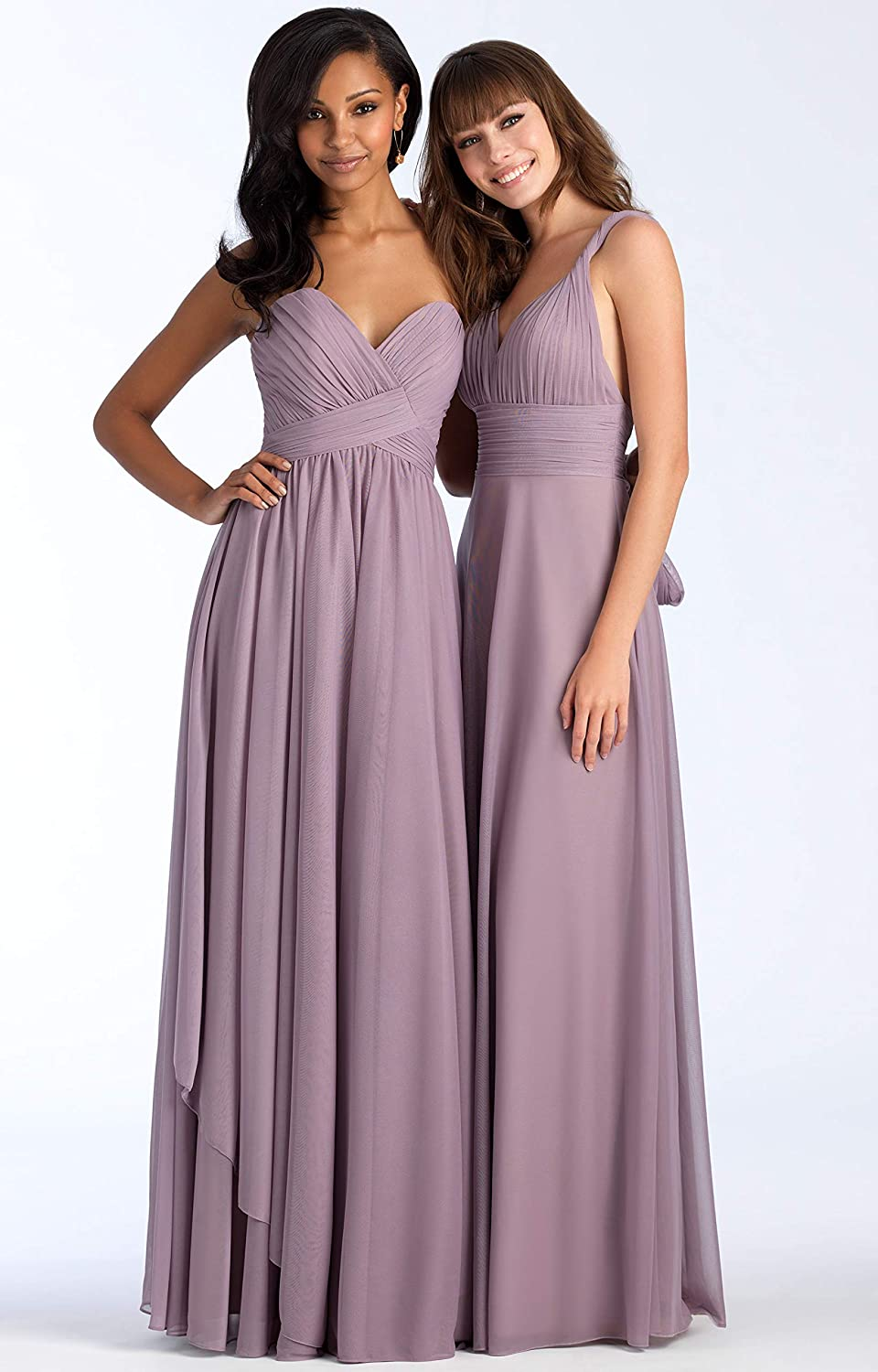 WuliDress Womens Chiffon Ruched A Line Sweetheart Bridesmaid Dresses Long Formal Party Prom Gowns