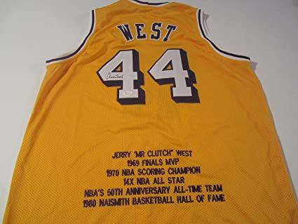ab7a256ef Image Unavailable. Image not available for. Color  Jerry West Signed Jersey  - Stat COA - JSA Certified - Autographed NBA Jerseys