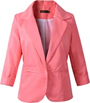 Beninos 3/4 Sleeve Women's Boyfriend Blazer Tailored Suit Jacket Sport Coat
