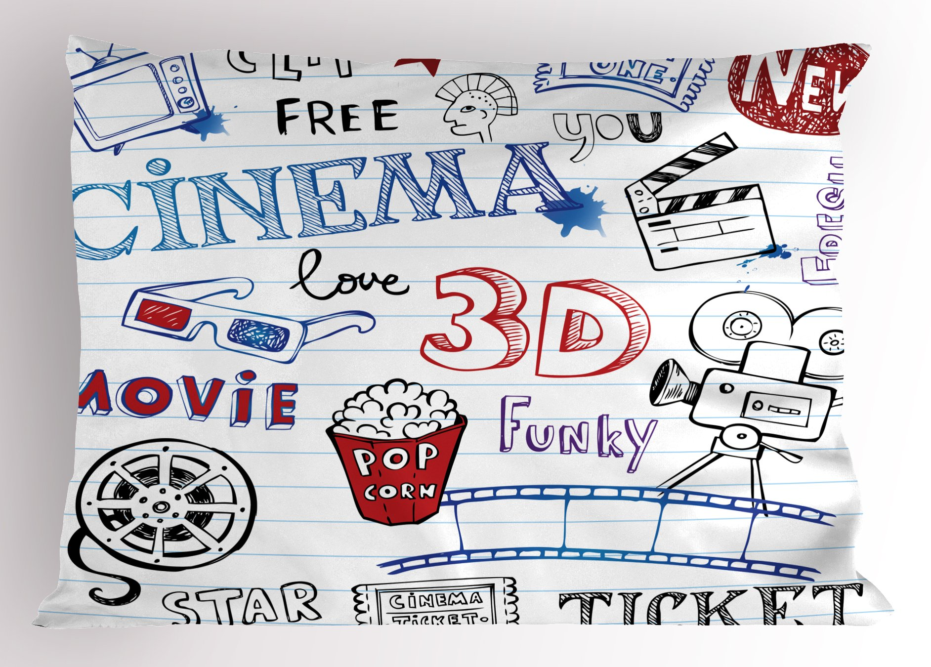 Ambesonne Movie Theater Pillow Sham, Various Hand Drawn Icons on a Notebook Page Style Backdrop Hollywood Fun, Decorative Standard Queen Size Printed Pillowcase, 30 X 20 Inches, Multicolor