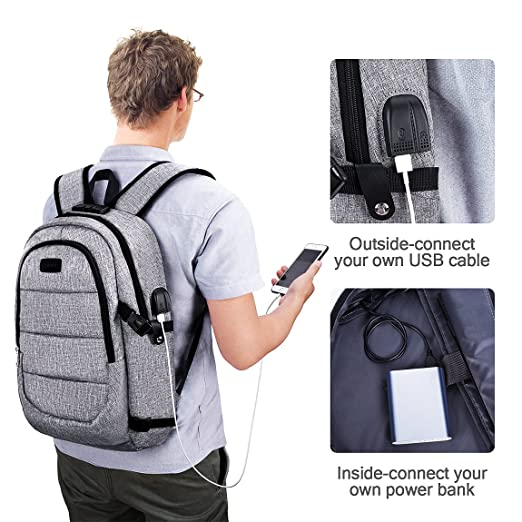 417a73cbc98 Amazon.com  Laptop Backpack, Business Anti Theft Waterproof Travel Backpack  with USB Charging Port   Headphone interface for College Student for Women  Men ...