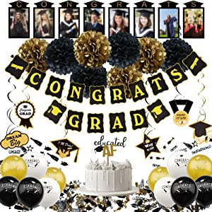 ZERODECO Black and Gold Decorations, Hanging Paper Fans Pom Poms Flowers Tassel Garlands String Triangle Bunting Flags and Balloons for Graduation Congrats Grad Party Décor (Black Gold 1)