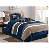 JBFF 7 Piece, Collection Bed in Bag Luxury Stripe Microfiber Comforter Set, King, Navy