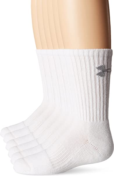 6 Pack Under Armour Boys Girls Charged Cotton 2.0 Crew Socks White Size M
