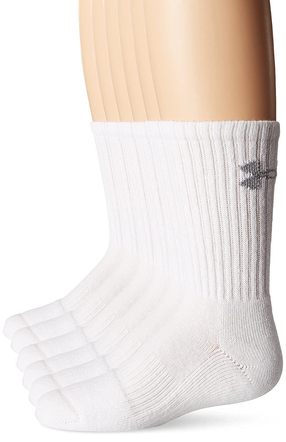 Under Armour Youth Crew Socks (6-Pair) Solid Black Youth Large Under Armour Socks UA 2879