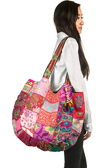 9f53a57009 Amazon.com  TribeAzure Large Fashion Pink Canvas Shoulder Bag Handbag  Unique Tote Quilt Vintage Beach Travel Summer  Shoes