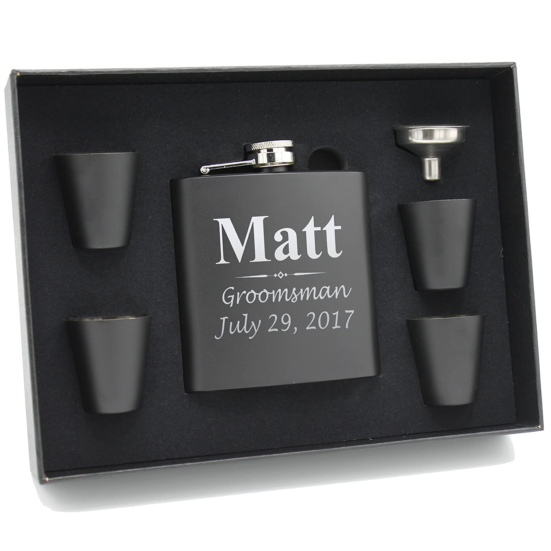 563d4f25ecb40 Custom Engraved Groomsman Flask Set - Personalized Groomsmen Gifts - 3  Lines Style - Black