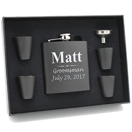 amazon com custom engraved groomsman flask set personalized