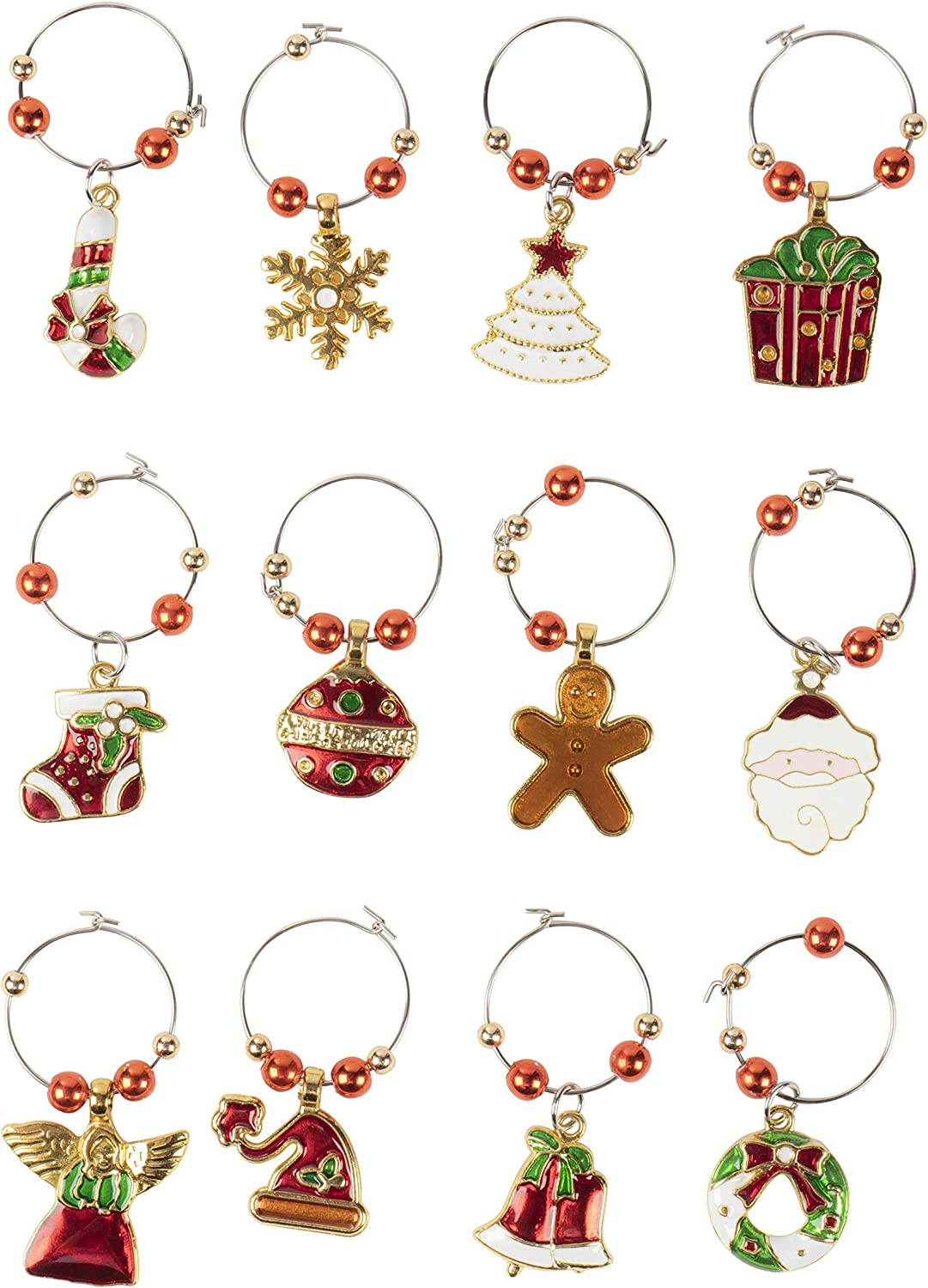 Christmas Wine Charms 12 Days Of Christmas Glass Tag Identifiers Glass Decals 12 Pack Glass Not included Glass Markers /& Cup Labels