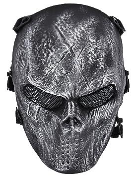Máscara Táctica, Fansport Airsoft Mascarilla al Aire Libre Juego Máscara Facial Cara Completa Traje Máscara