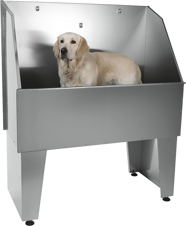 pila para bañar mascotas de aluminio sin puerta, con argollas y golden retriever dentro