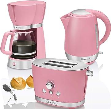 Designer Frühstücks Set rosa aus Kaffeemaschine Wasserkocher Toaster