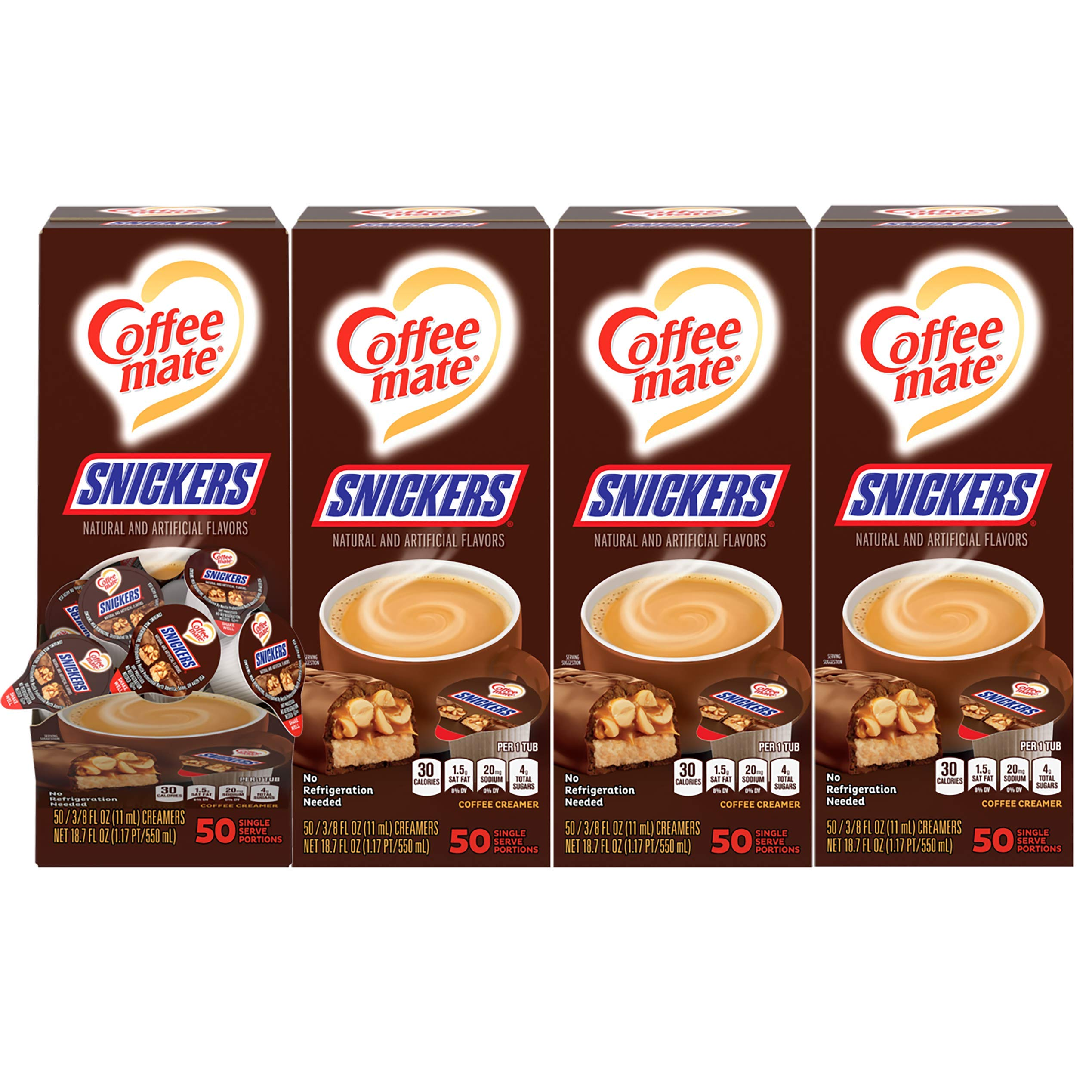 Nestle Coffee mate Coffee Creamer, Snickers, Liquid Creamer Singles, Non Dairy, No Refrigeration, Box of 50 Singles (Pack of 4)