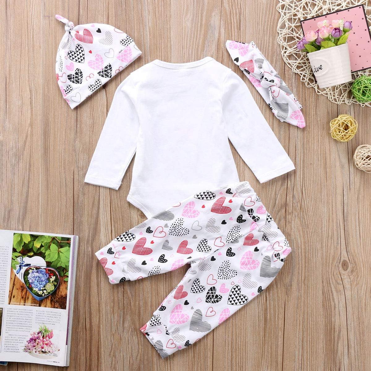 Newborn Baby Cute Girls Long Sleeve Daddy/´s Valentine Romper Bodysuit Trousers Hat Headband 4PCS Clothes