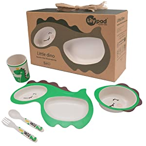 LILY PAD + LITTLE MR - Bamboo Fiber Dinnerware Set (Little Dino Dinosaur) | Toddler Gifts for Boys and Girls | Baby Bowls | Kids Divided Plate, Bowl, Utensils, Cup | Kids Dishes | Eco Friendly