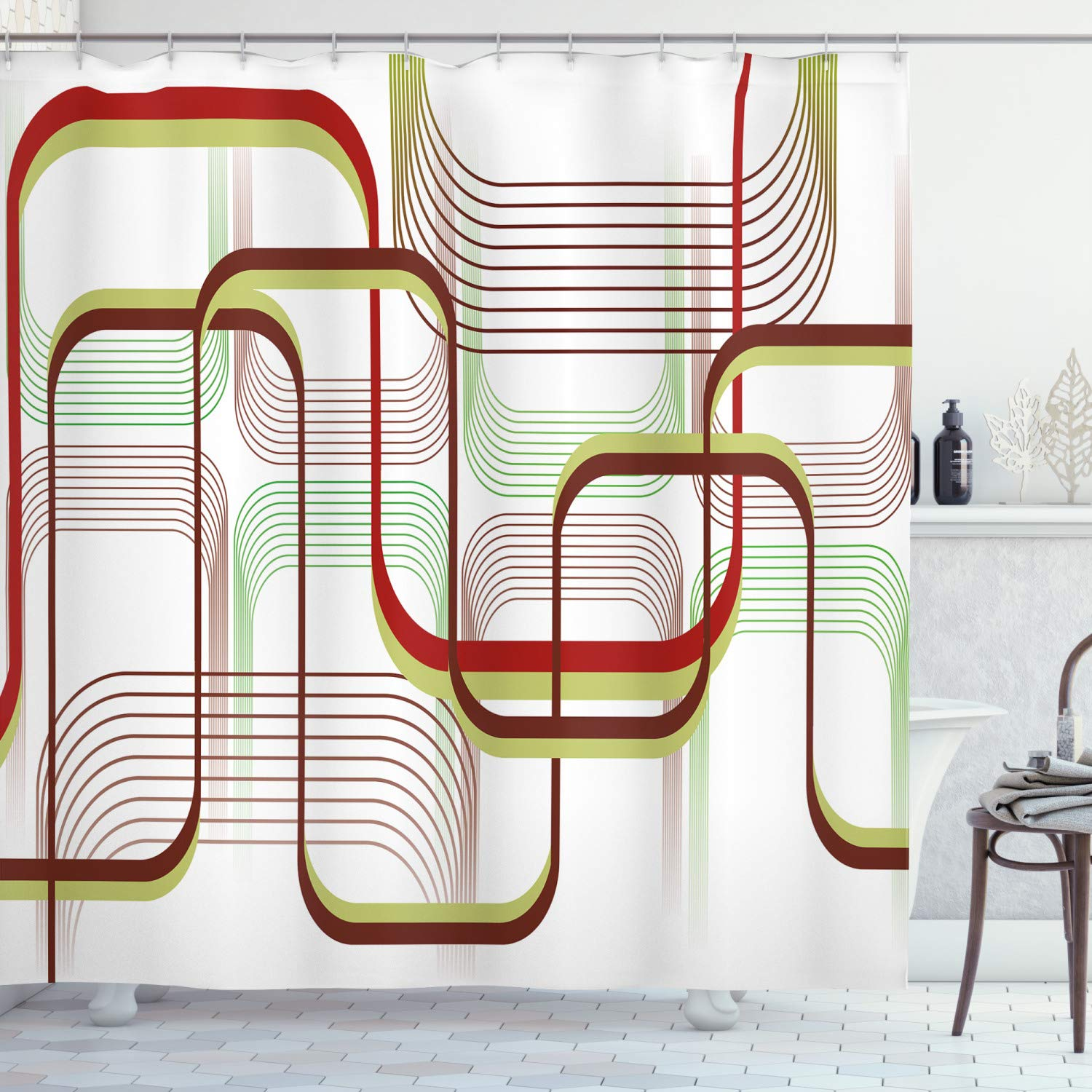Ambesonne Modern Shower Curtain Geometric Contemporary Wavy Lines With Abstract Shapes Designs Art Image Cloth Fabric Bathroom Decor Set With Hooks 70 Long Khaki Burgundy Amazon In Home Kitchen