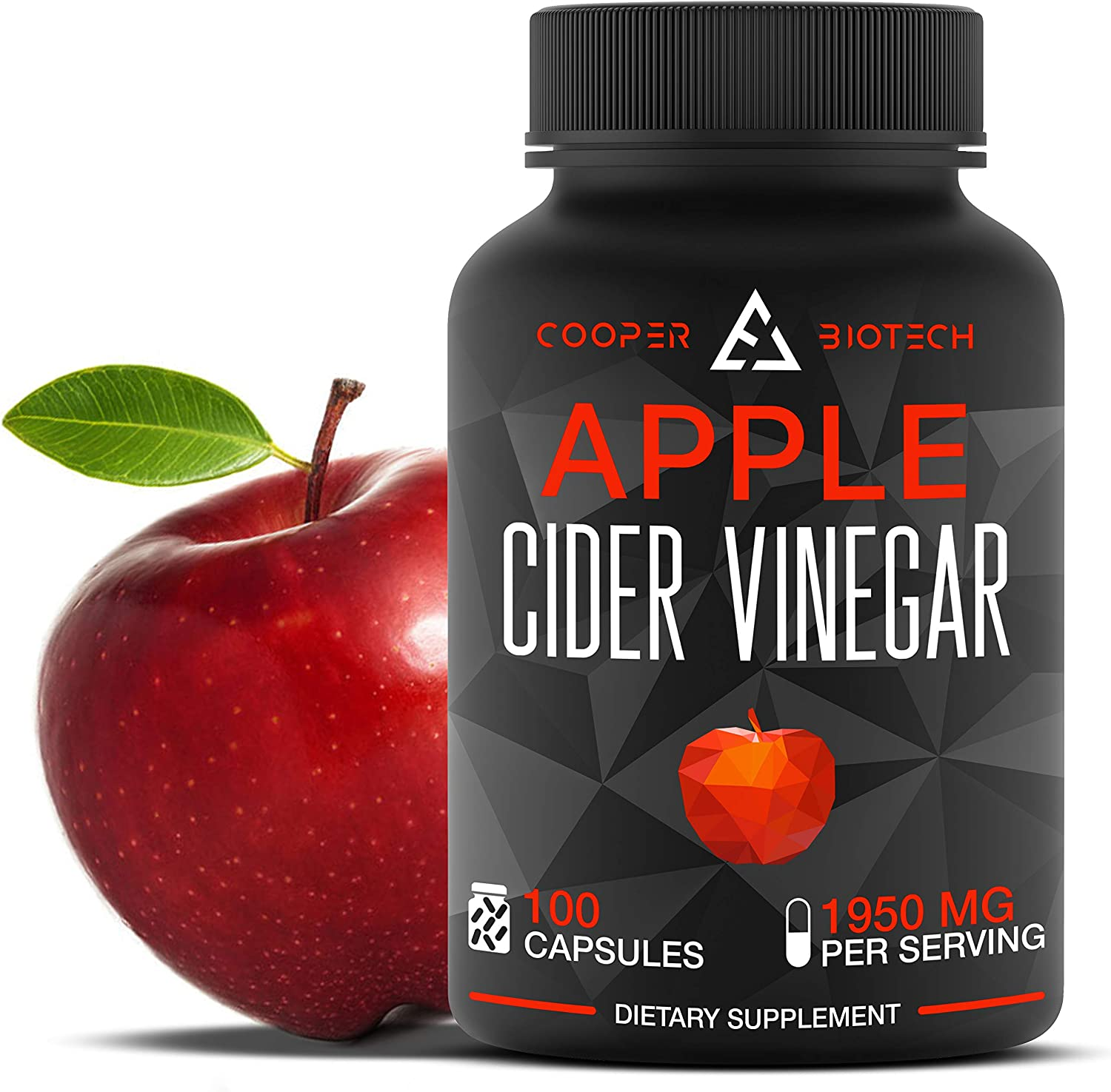 Apple Cider Vinegar Capsules - 100 Capsules 2250 MG - Organic Apple Cider Vinegar Pills for Cleanse and Detox - ACV Supplement for Immune System and Digestive Health Support