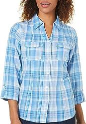 a3e0d0de50d067 Cathy Daniels Womens Lurex Plaid Button Front Top