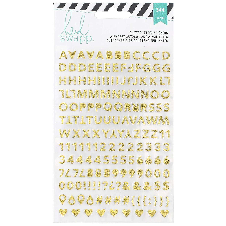 /Heidi Swapp memoria Planner alfabeto adesivi American Crafts/ 2//Fogli rosa e oro glitter acrilico