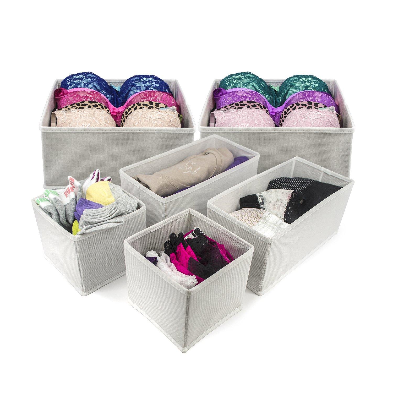 Sorbus Foldable Storage Drawer Closet Dresser Organizer Bins for Underwear, Bras, Socks, Ties, Scarves, Accessories and More - 6 Piece Set (Black) DOK6-BLK