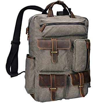 e8125f8e1c45 Amazon.com  ALTOSY Canvas Backpack Crazy Horse Leather Rucksack for men  Laptop Bag 5351-1 (Army Green)  ALTOSY Co.