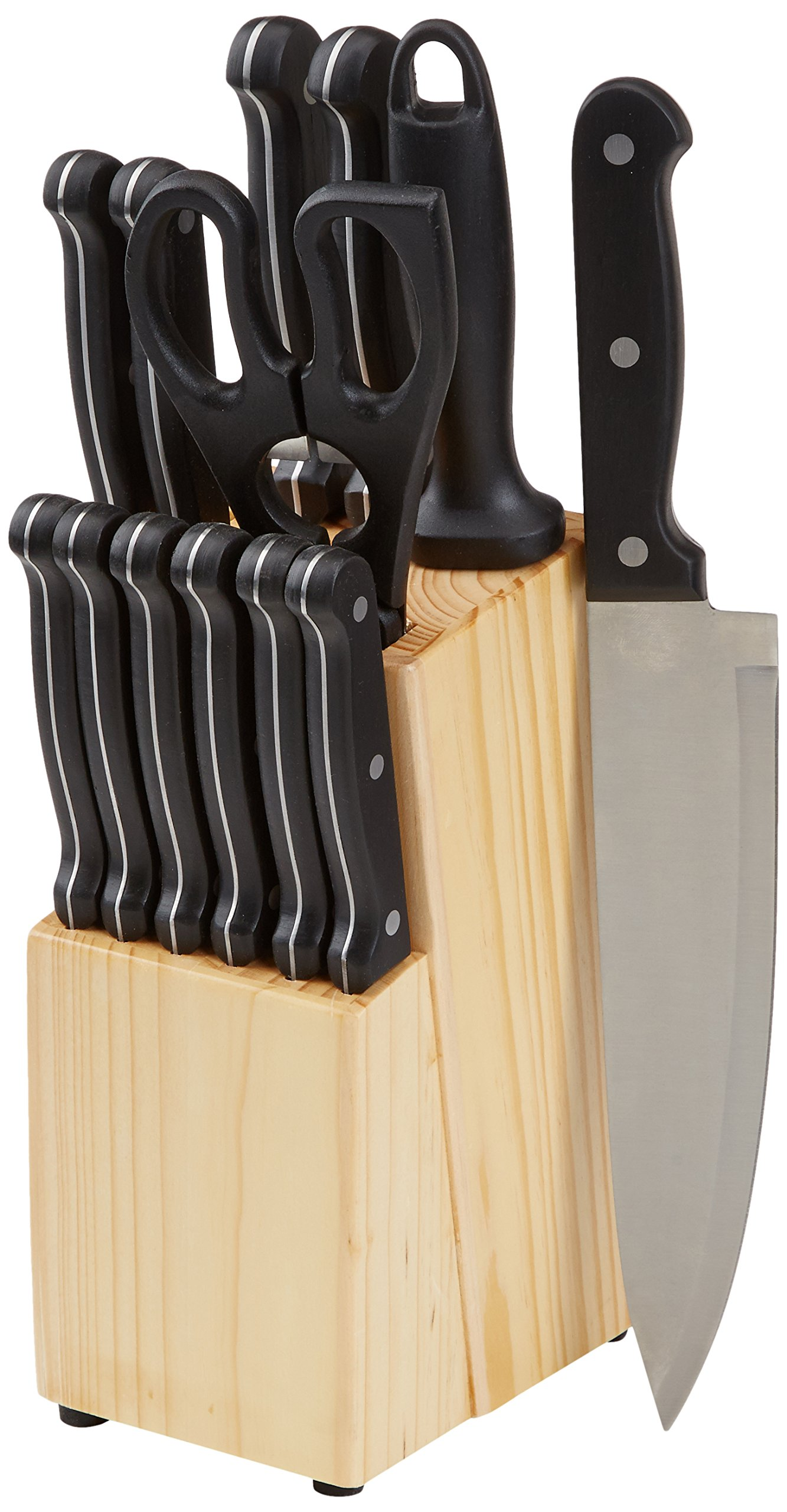 AmazonBasics 14-Piece Knife Set with High-carbon Stainless-steel Blades and Pine Wood Block