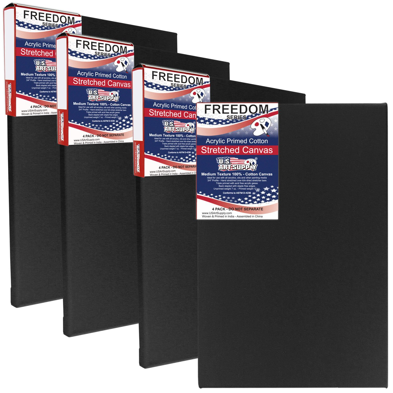 US Art Supply 11 x 14 inch Black Professional Quality Acid Free Stretched Canvas 4-Pack - 3/4 Profile 12 Ounce Primed Gesso - (1 Full Case of 4 Single Canvases) by US Art Supply