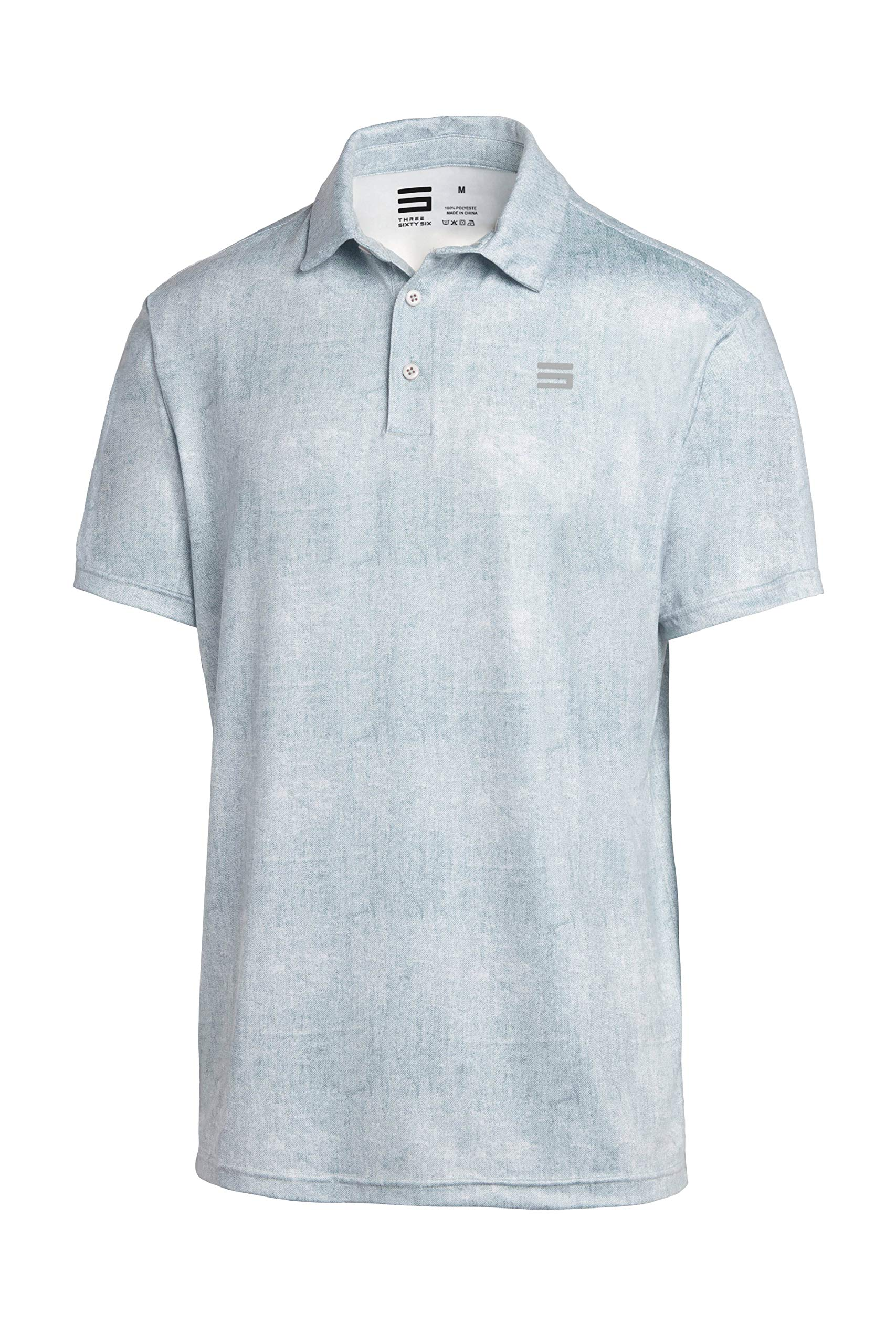 Three Sixty Six Golf Shirts for Men - Dry Fit Short-Sleeve Polo, Athletic Casual Collared T-Shirt Metallic White by Three Sixty Six