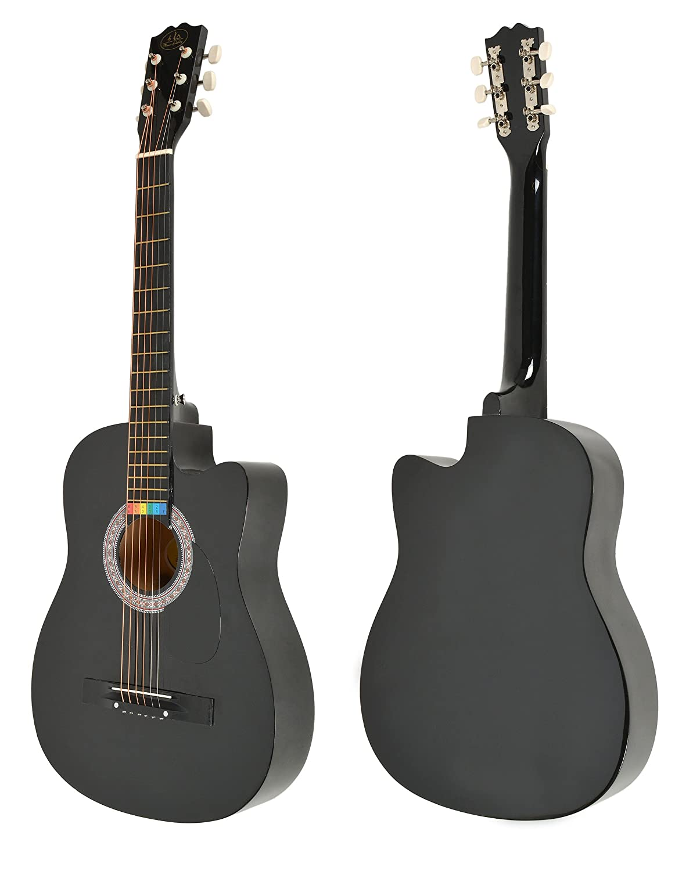ts-ideen Western - Guitarra acústica, tamaño regular (4/4) con set de accesorios (bolso, cuerdas etc.), color negro: Amazon.es: Instrumentos musicales