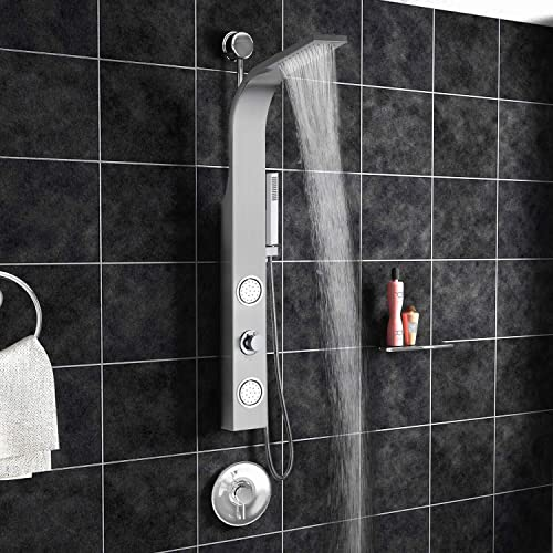 Blue Ocean 44 Stainless Steel SPS88213 Retro-fit Shower Panel with Rainfall Shower Head, Body Nozzles, and Handheld Shower Head