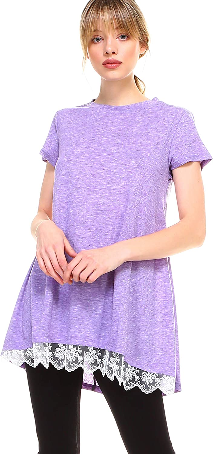 Women lace Trim Short Sleeve Casual Flare Swing Tunic Tops Cotton Blend
