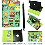 """AMAZON KINDLE FIRE HD 7"""" VARIOUS PU LEATHER WITH SLEEP/WAKE STANDBY MAGNETIC CASE COVER POUCH + STYLUS BY GSDSTYLEYOURMOBILE"""