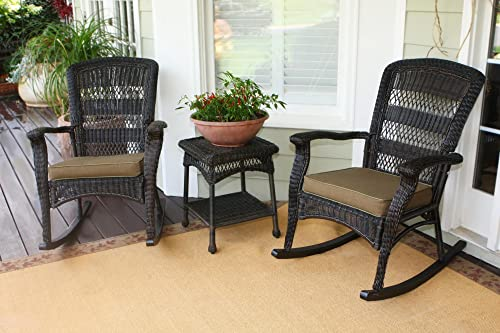 Tortuga Outdoor 3 Piece Portside Plantation Rocking Chair rockers with 1 side table Set of 2 , Dark Roast
