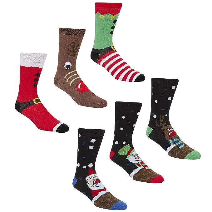 Calcetines navideños de la marca Zest, para hombre, hechos de algodón, talla 39-46 6 Pack Multi 39-46: Amazon.es: Ropa y accesorios