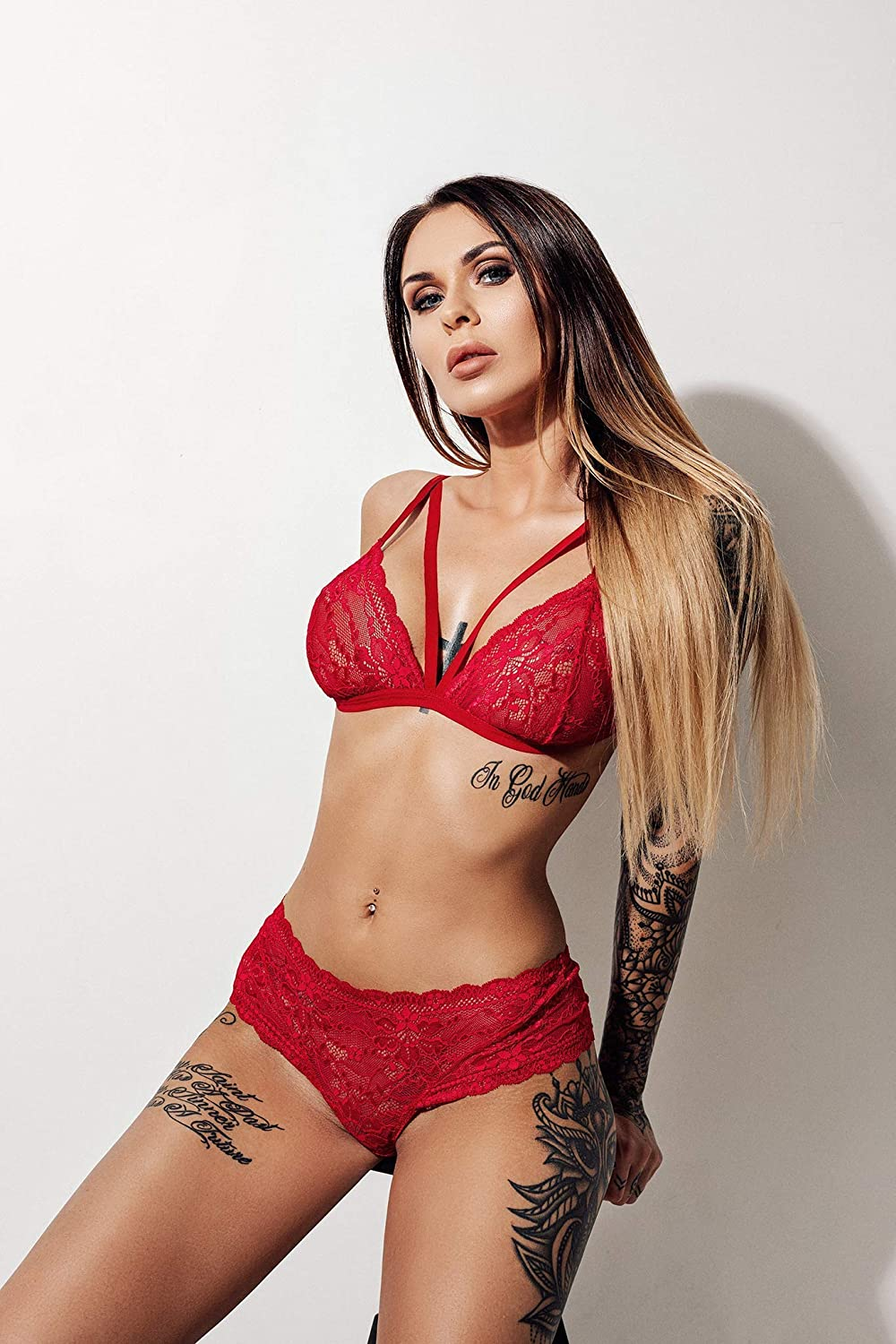 3270f91c88 Amazon.com  Red lace lingerie set LOVE + Brazilian String panties  Handmade