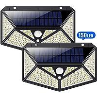 HETP Luci Solari Esterno [Illuminazione Omnidirezionale a Sei Lati] 150 led Lampada solare con Sensore di Movimento Luce Solare Impermeabile ip65 Luci da Esterno Energia Solare illuminazione Giardino