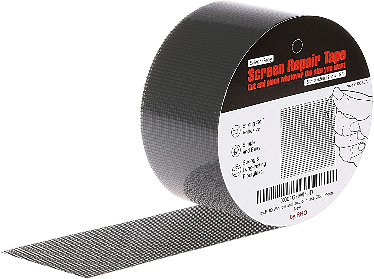 by.RHO Screen Repair Tape. Gray, XL(15FT). 3-Layer Strong Adhesive & Waterproof (Silver-Gray)
