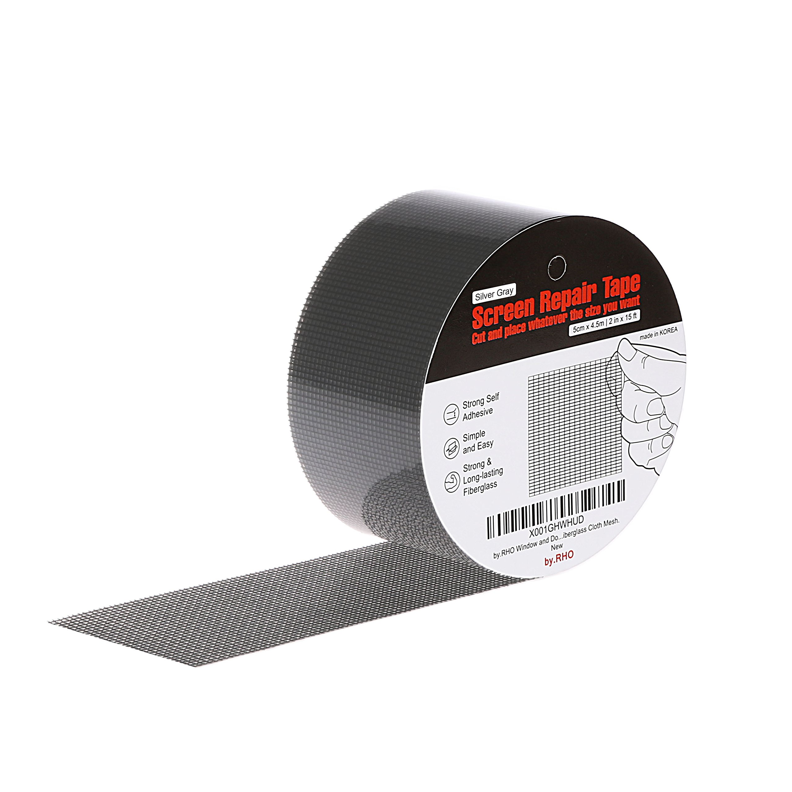 by.RHO Screen Repair Tape. Gray, XL(15FT). 3-Layer Strong Adhesive & Waterproof (Silver-Gray) by by.RHO