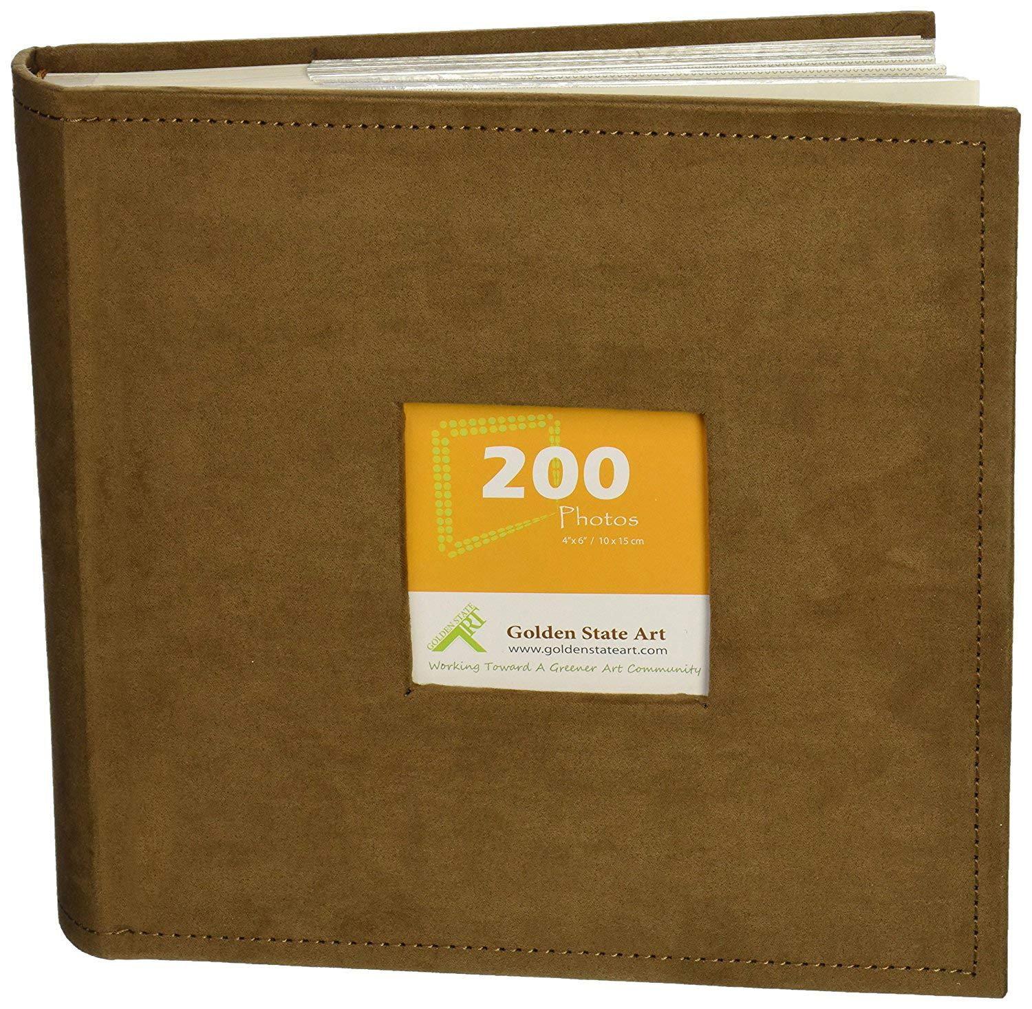 Golden State Art Photo Album, Holds 200 4''x6'' Pictures, 2 per Page, Suede Cover, Brown