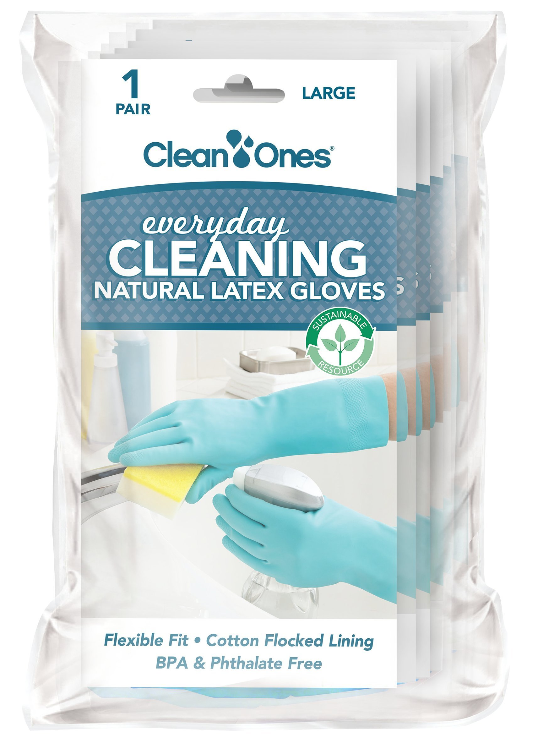 Clean Ones Everyday Cleaning Latex Gloves - 6 Pair (Large) by Clean Ones