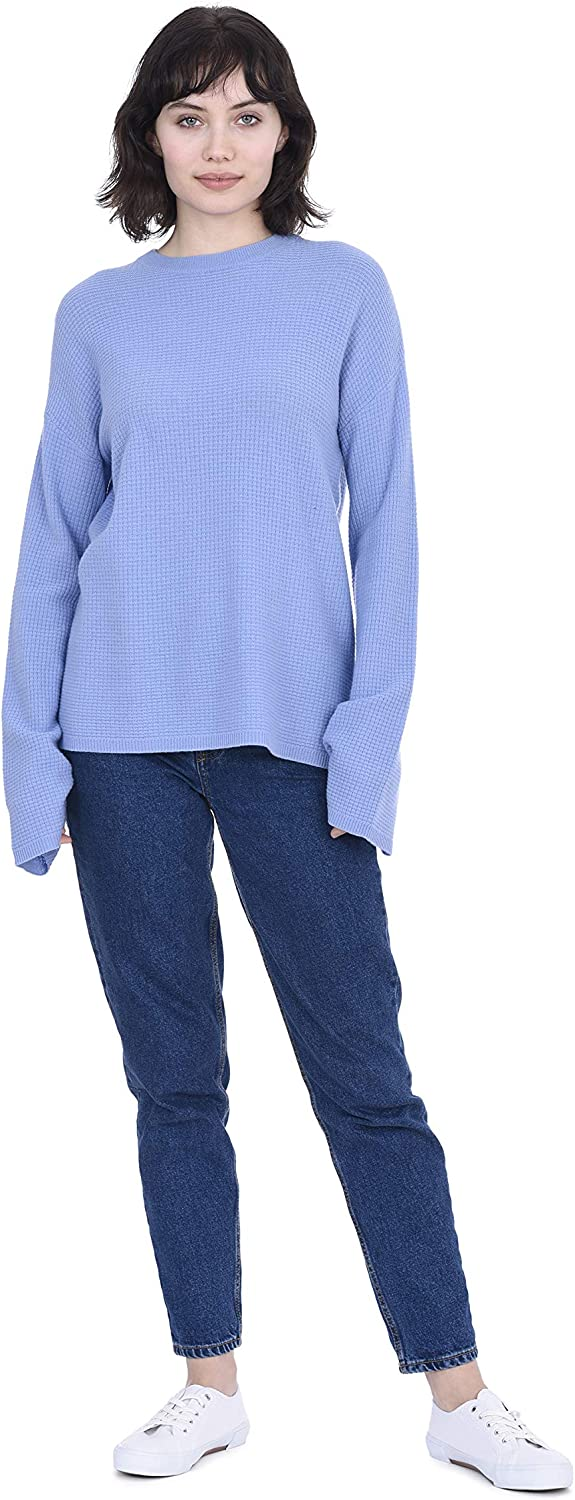 Cashmeren Thermal Style Crew Neck Pullover Cashmere Wool Long Sleeve Sweater for Women