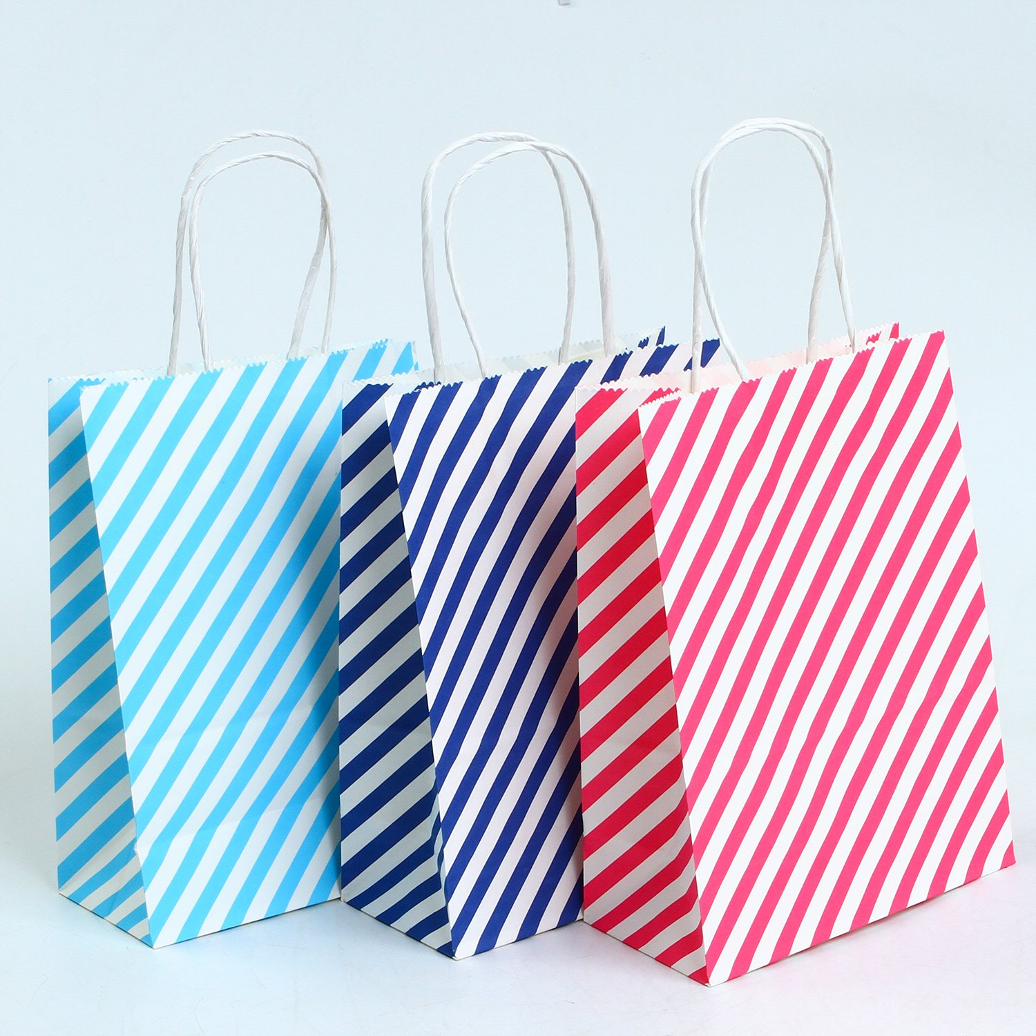 Coobey 20 Pieces Paper Party Bags Gift Bag Kraft Bag Handle Birthday, Tea Party, Wedding Party...