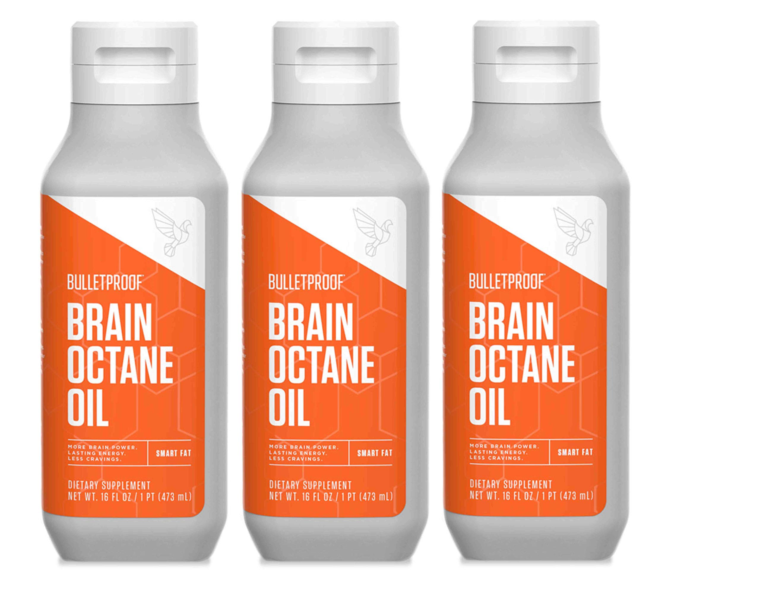 Bulletproof Brain Octane MCT Oil, Perfect for Keto and Paleo Diet, 100% Non-GMO Premium C8 Oil, Ketogenic Friendly, Responsibly Sourced from Coconuts Only, Made in the USA (3-Pack of 16oz) by Bulletproof
