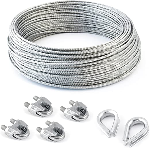 many sizes avaliable SET 10m wire rope stainless steel strand:7x7 2mm 2 thimbles many sizes avaliable 2 clips