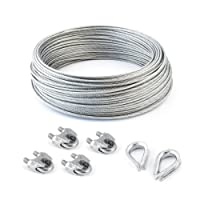 SET 30m câble acier galvanisé 6x19 8mm + 4 serre-câbles étrie et 2 cosse coeur