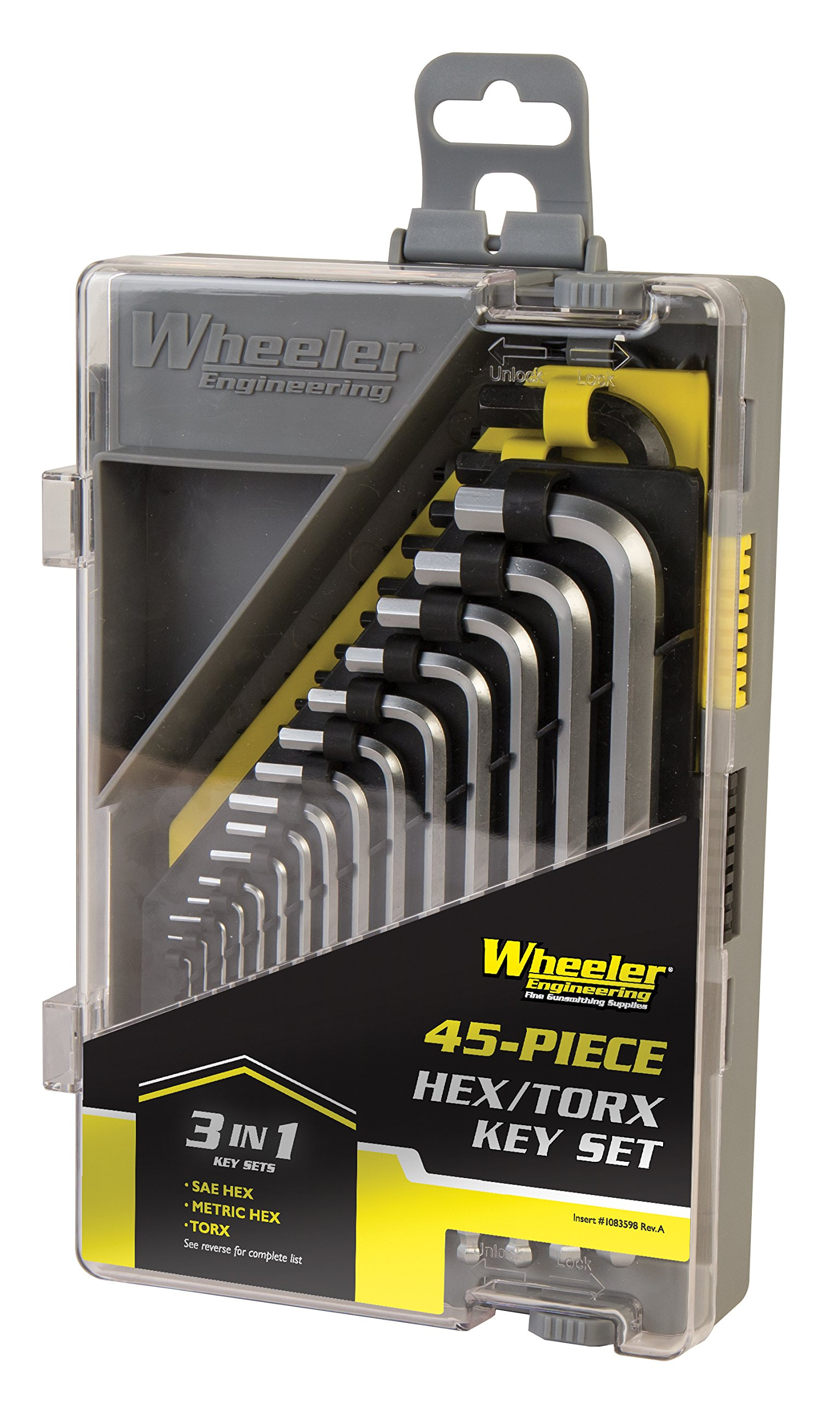 Wheeler 45 Piece SAE/Metric Hex and Torx Key Set for Pistol Rifle Handgun Gunsmithing Rebuild and Maintenance by Wheeler