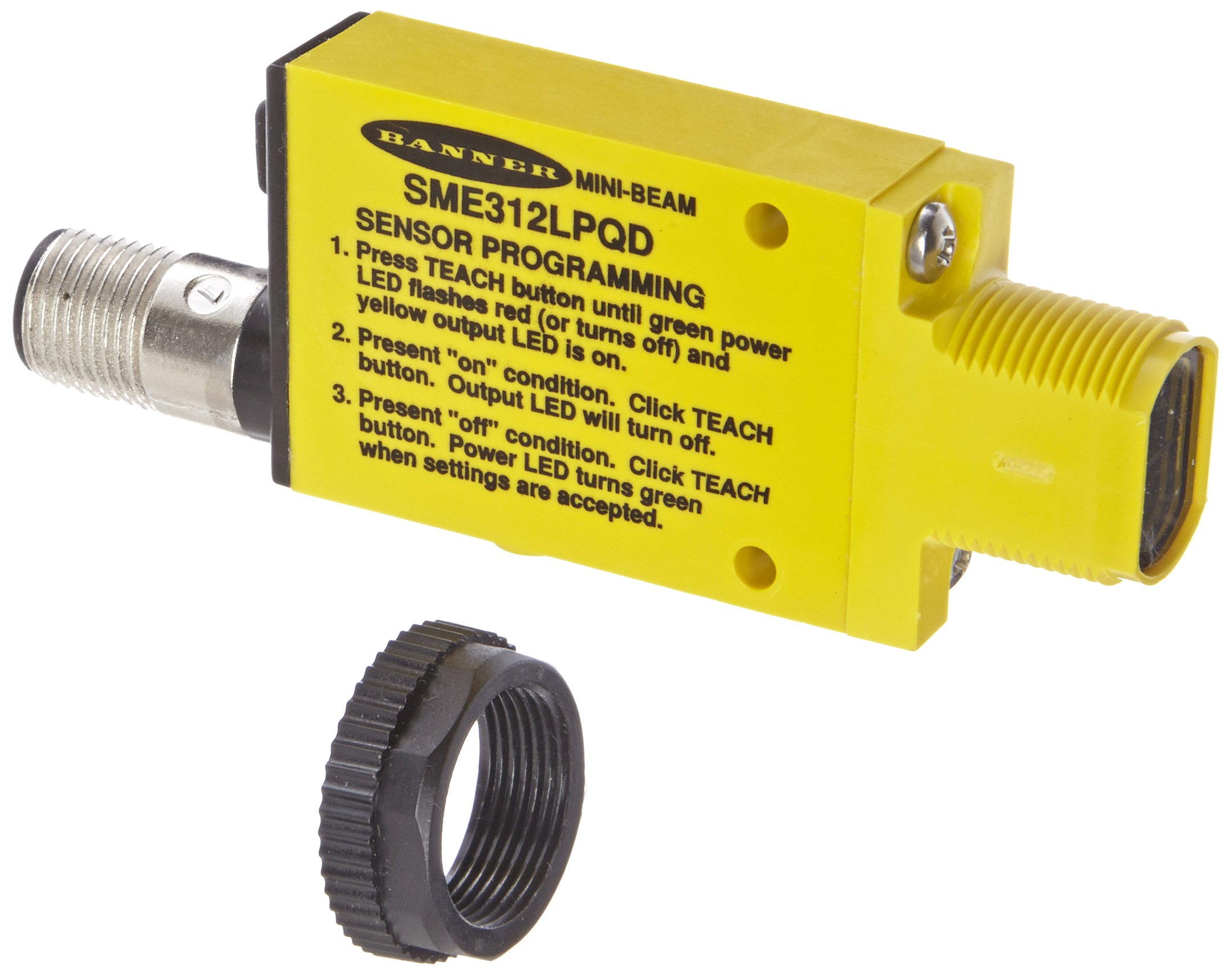 Banner SME312LPQD Mini Beam Expert Sensor, Polarized-Retroreflective Sensing Mode, 5-pin Euro-Style QD Connector, Visible Red LED, 10-30 VDC Supply Voltage, Bipolar (NPN and PNP) Output, 3 m Sensing Range