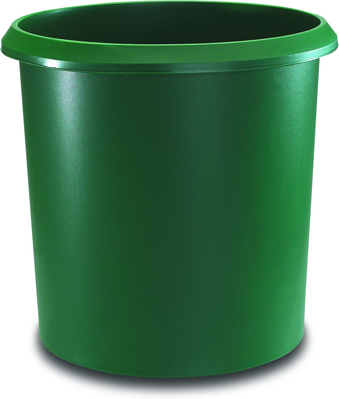 Camino Allrounder cesta redonda de papel Cubo de basura con mango, plástico resistente, 18L, color verde 18 Liter
